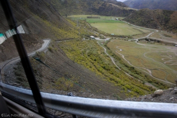 Getting on top of the mountain in a bus.