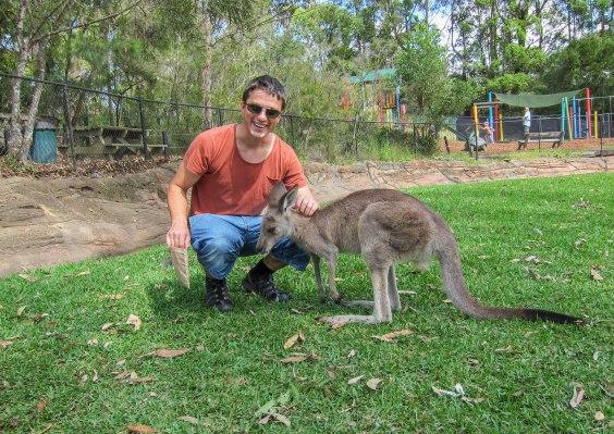 Håkan hugging a Kangaroo.