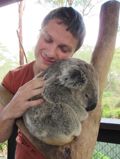 Håkan hugs a koala.