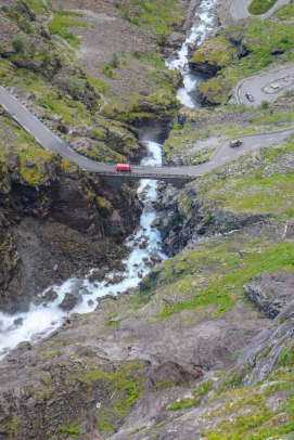 The waterfall pouring on Trollstigen.