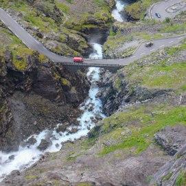 The waterfall pouring on Trollstigen.